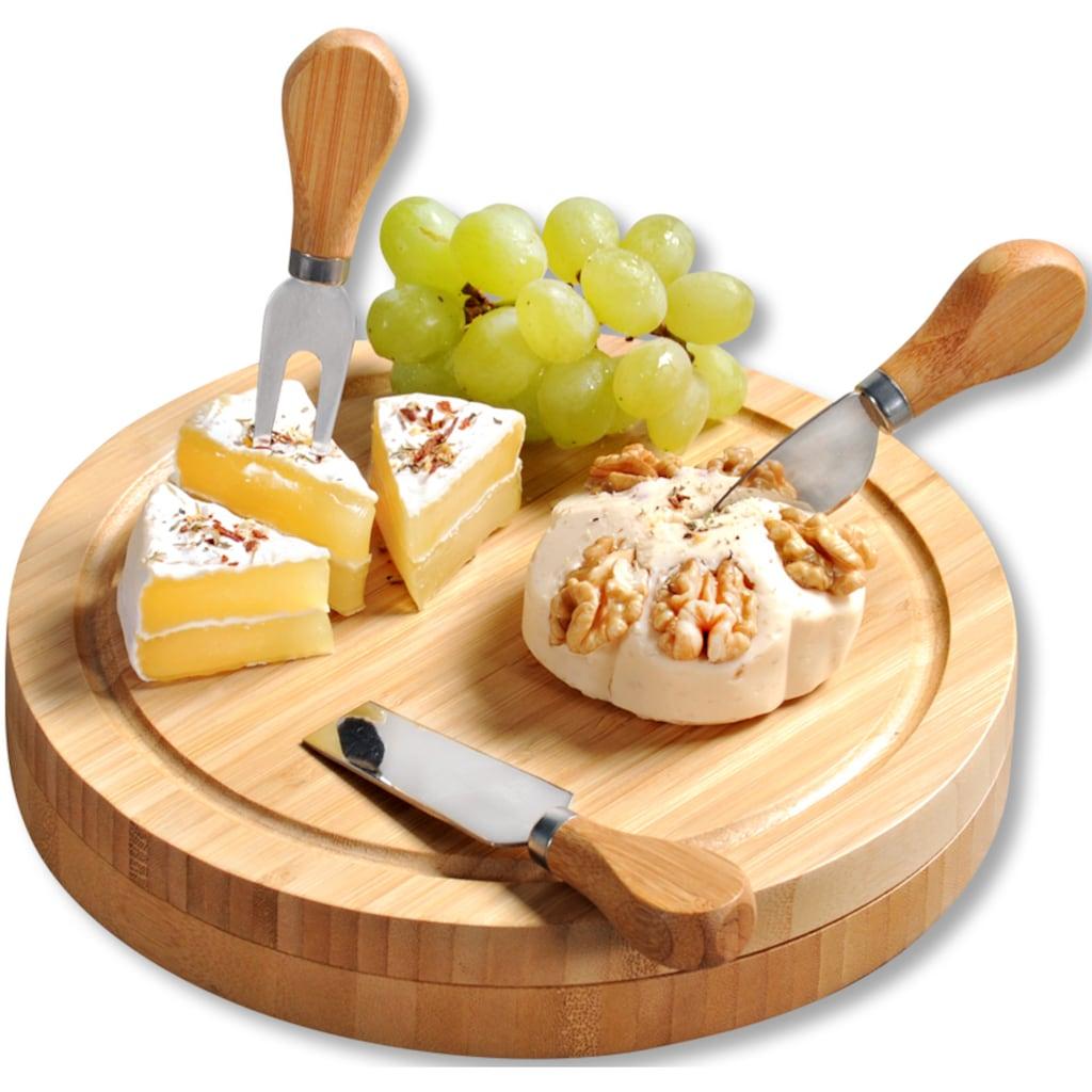 KESPER for kitchen & home Käsebrett, (4 St.), mit dreiteiligem Käsebesteck