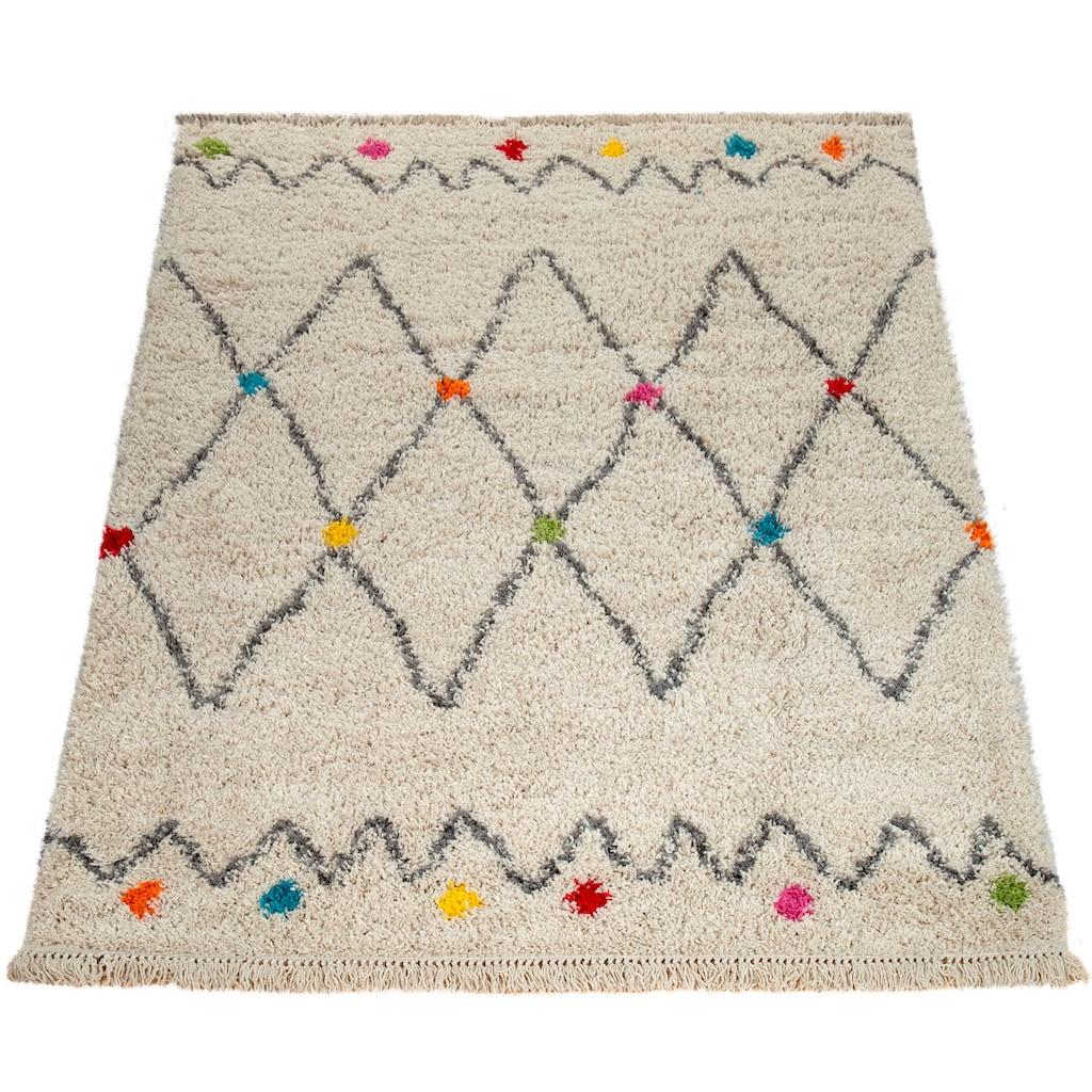 Paco Home Teppich »Wooly 281«, rechteckig, 40 mm Höhe, Hochflor-Shaggy, Scandi-Muster, mit Fransen, Wohnzimmer