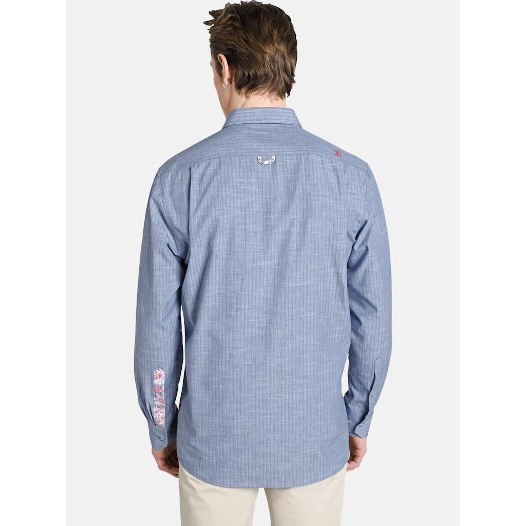SHIRTMASTER Langarmhemd »blueandcoral«, Baumwollhemd mit Kontrasten