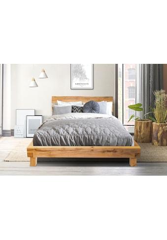 Home affaire Massivholzbett »Julijan«, aus massivem Buchenholz, mit einem leicht abgewinkelten Kopfteil, Breite 204 cm kaufen