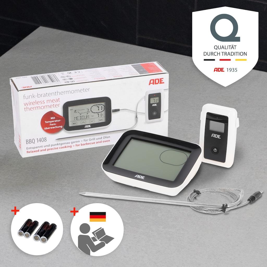 ADE Bratenthermometer »BBQ1408«, Grill-Thermometer mit Funkempfänger, Touch-Display und Messgabel aus Edelstahl