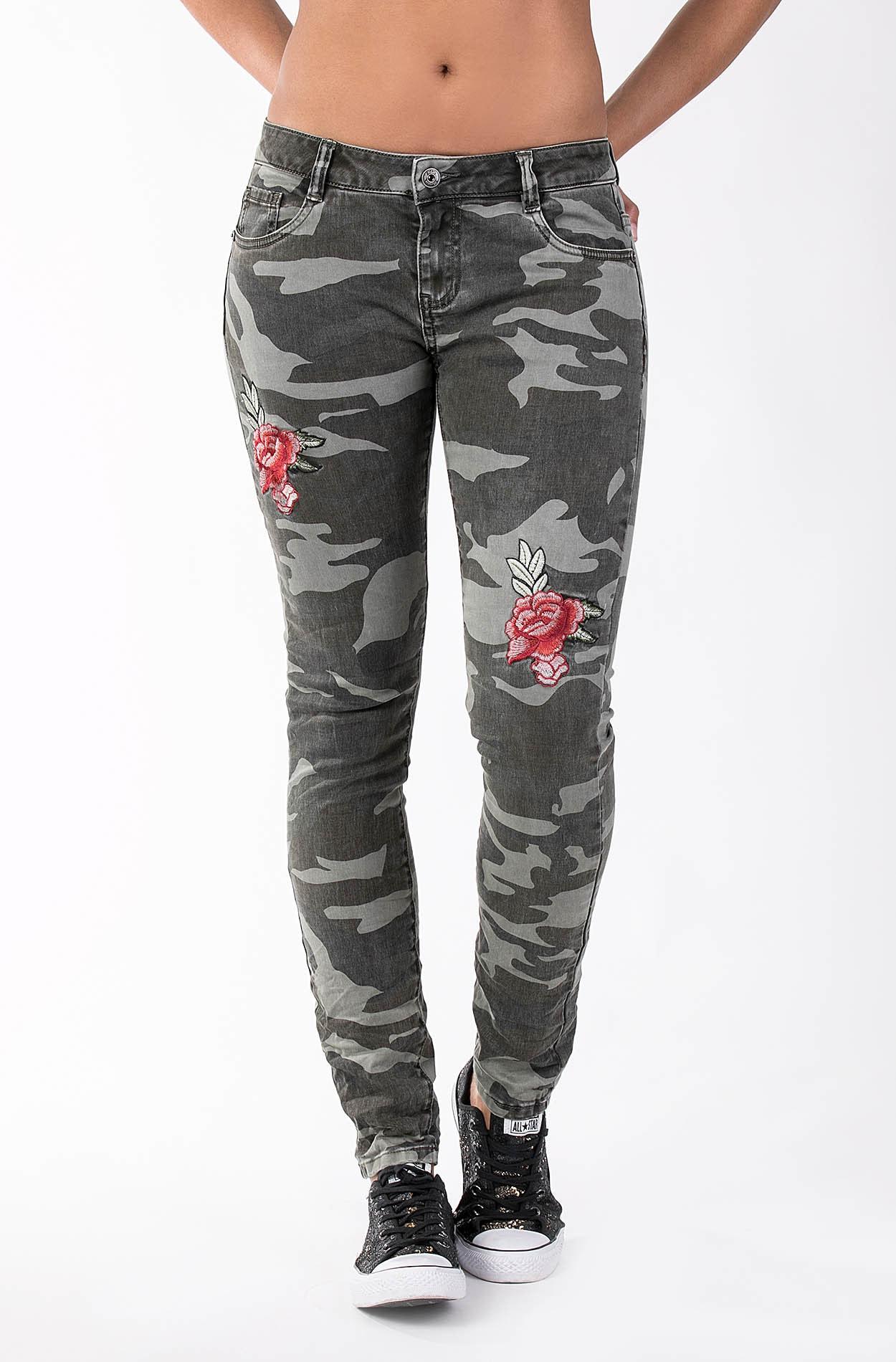 Damen Skinny Jeans Honey 1820 Camouflage Länge 32 Blue Monkey