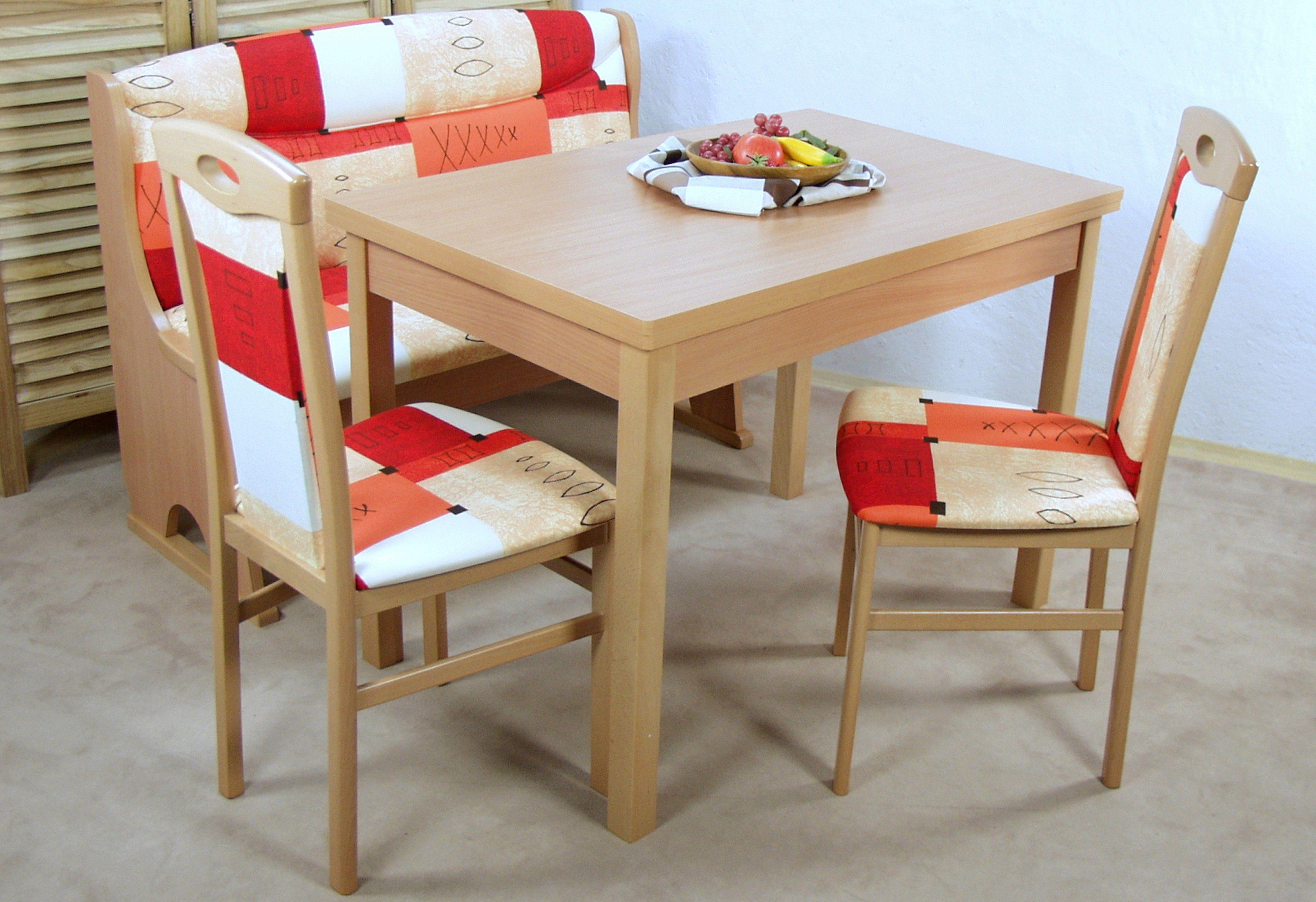Essgruppe (Set 4-tlg)   Küche und Esszimmer > Essgruppen > Essgruppen   Rot   Buche - Massivholz - Baumwollstoff - Baumwolle - Abs