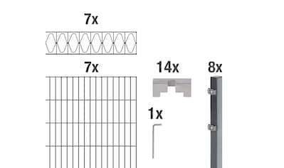 GAH Alberts Doppelstabmattenzaun »Eleganz«, anthrazit, 100 cm hoch, 7 Matten für 14 m,... kaufen