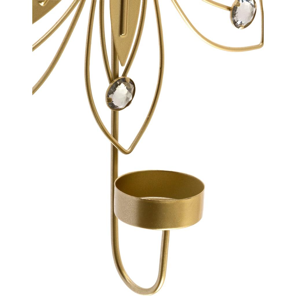 Myflair Möbel & Accessoires Wandblaker »Blüte«, Kerzen-Wandleuchter, Kerzenhalter, Kerzenleuchter hängend, Wanddeko, aus Metall, mit Teelichthalter
