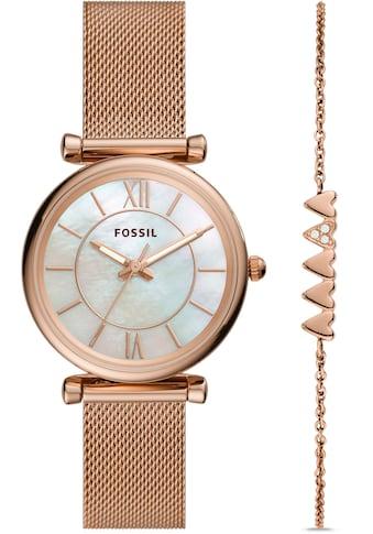 Fossil Quarzuhr »CARLIE, ES5058SET«, (2 tlg., mit zusätzlichem Schmuckarmband) kaufen