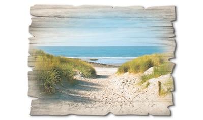 Artland Holzbild »Strand mit Sanddünen und Weg zur See«, Strand, (1 St.) kaufen