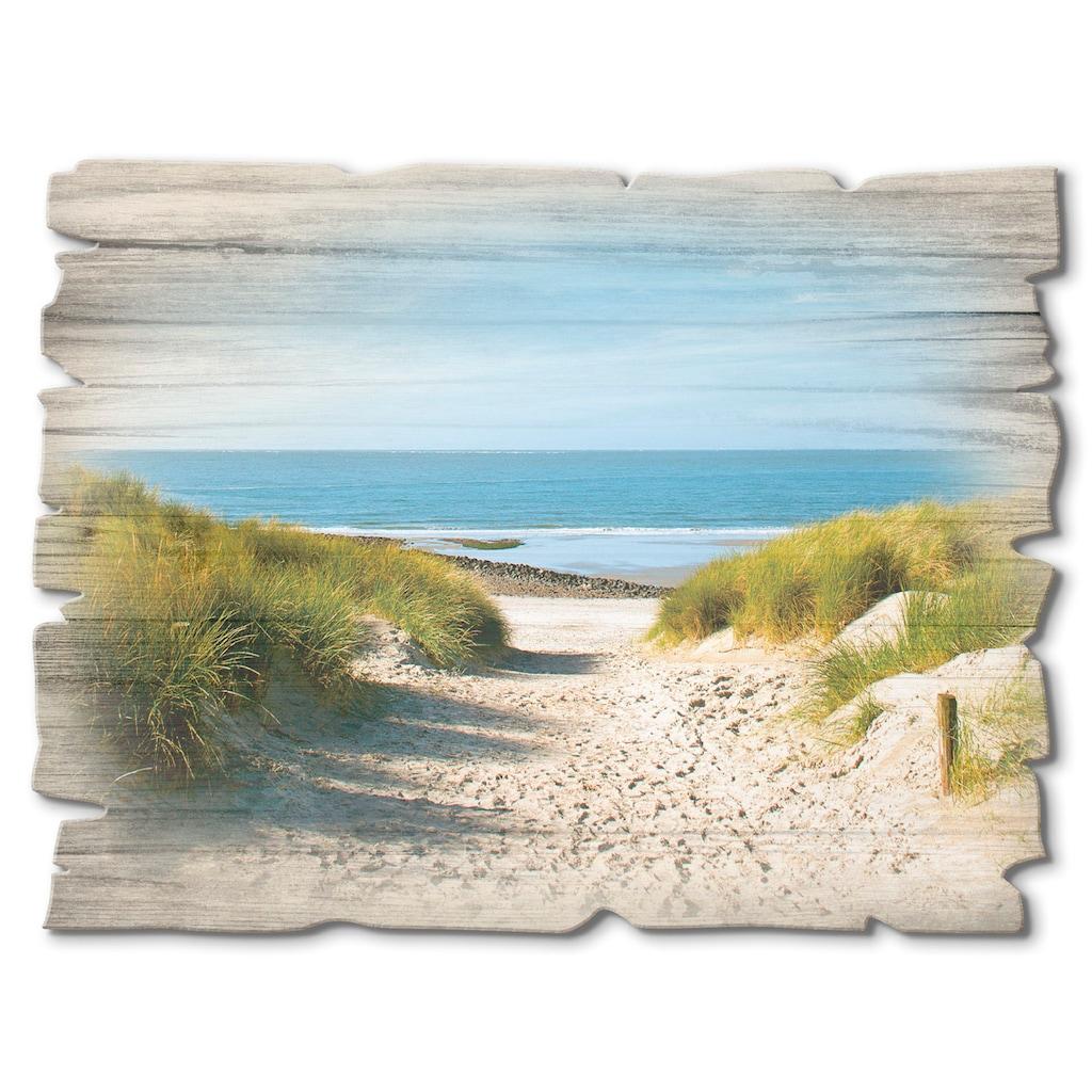 Artland Holzbild »Strand mit Sanddünen und Weg zur See«, Strand, (1 St.)