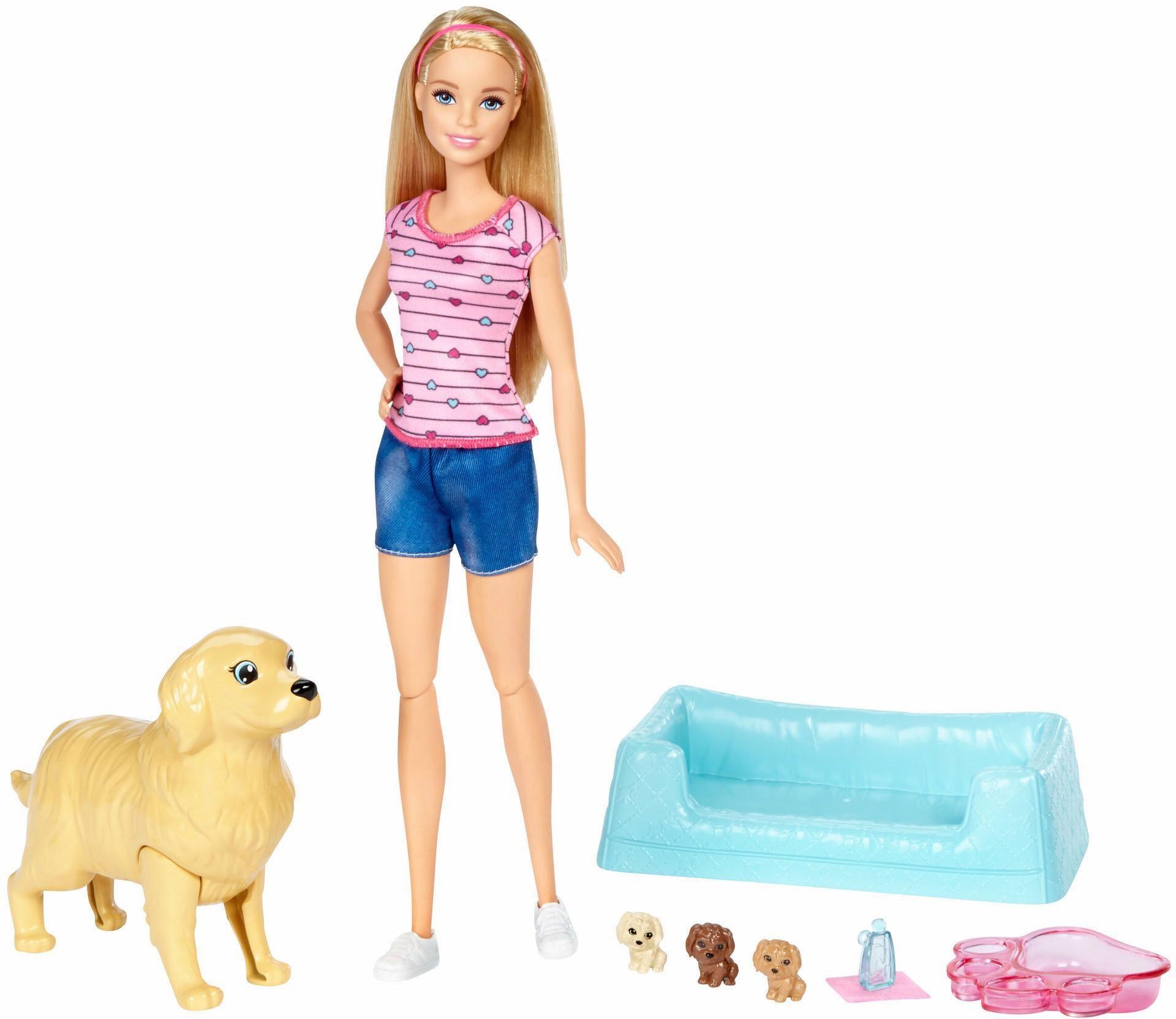 mattel anziehpuppe barbie mit hundemama und welpen auf. Black Bedroom Furniture Sets. Home Design Ideas
