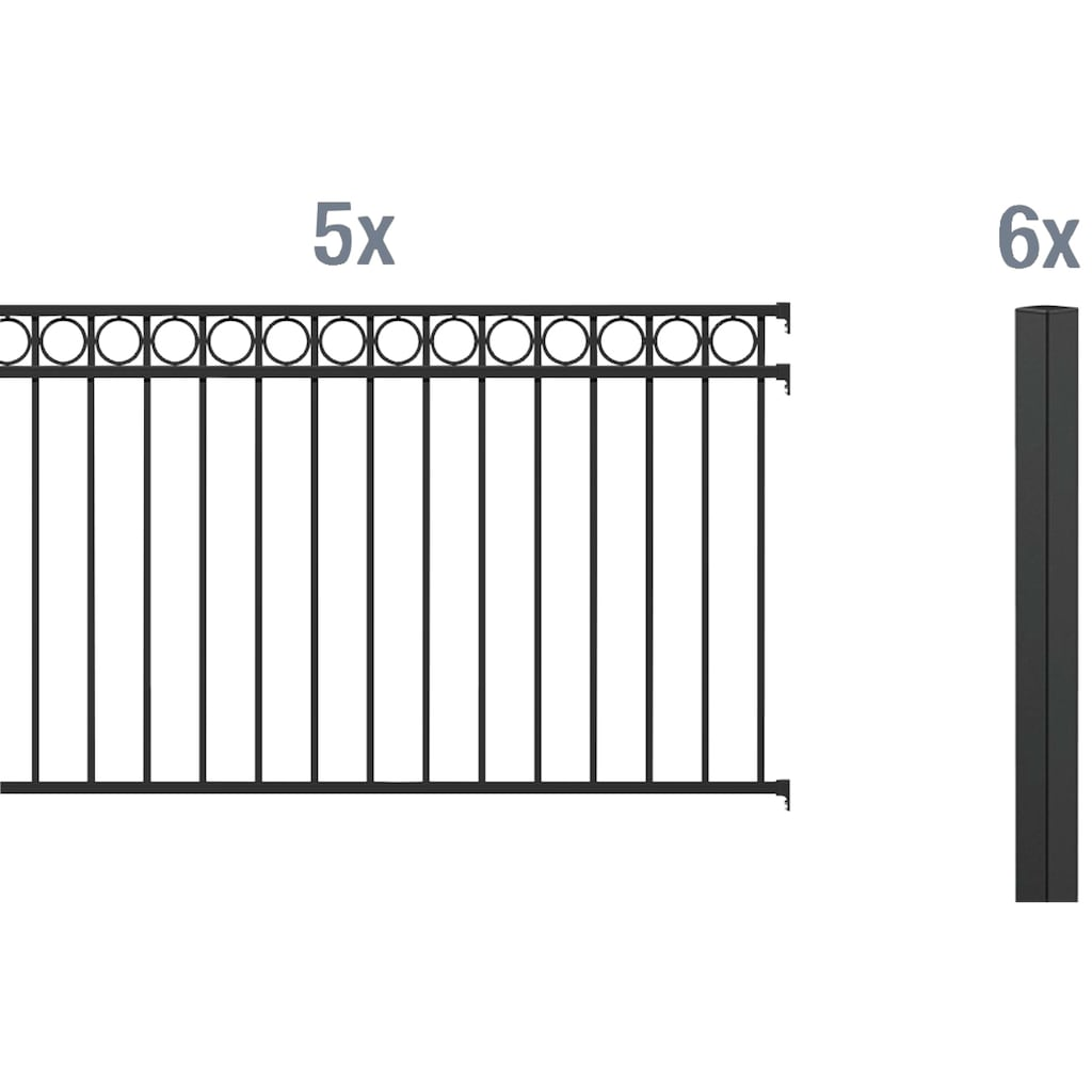 GAH Alberts Metallzaun »Circle«, 100 cm hoch, 5 Matten für 10 m, 6 Pfosten zum Einbetonieren