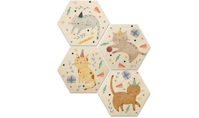 Wall-Art Mehrteilige Bilder »Katzengeburtstag Kinderzimmer«, (Set, 4 St.) kaufen