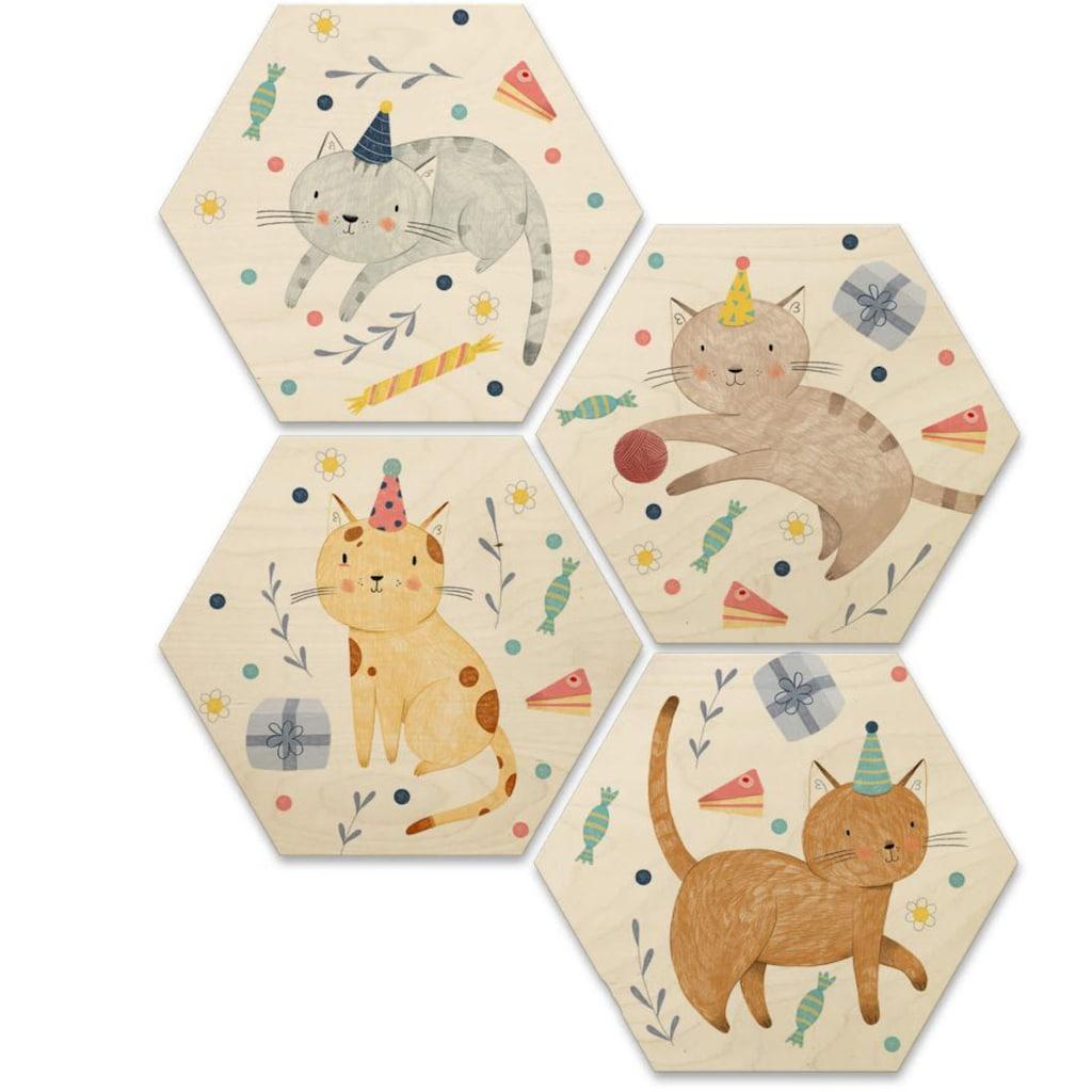 Wall-Art Mehrteilige Bilder »Katzengeburtstag Kinderzimmer«, (Set, 4 St.)