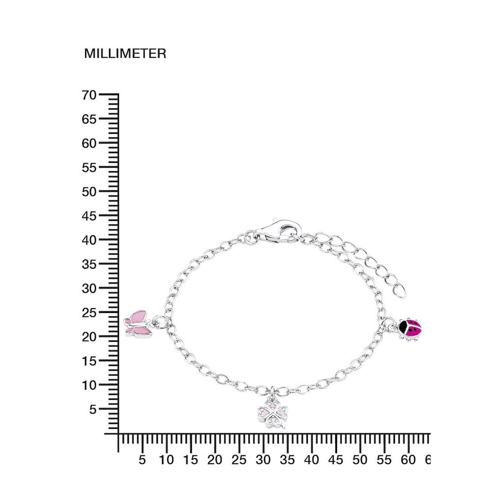 Prinzessin Lillifee Armband »9082414, Marienkäfer, Schmetterling, Kleeblatt«, mit Zirkonia