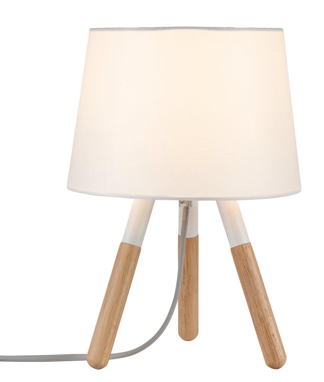 Paulmann LED Tischleuchte Neordic Berit Weiß/Holz, E27, 1 St.
