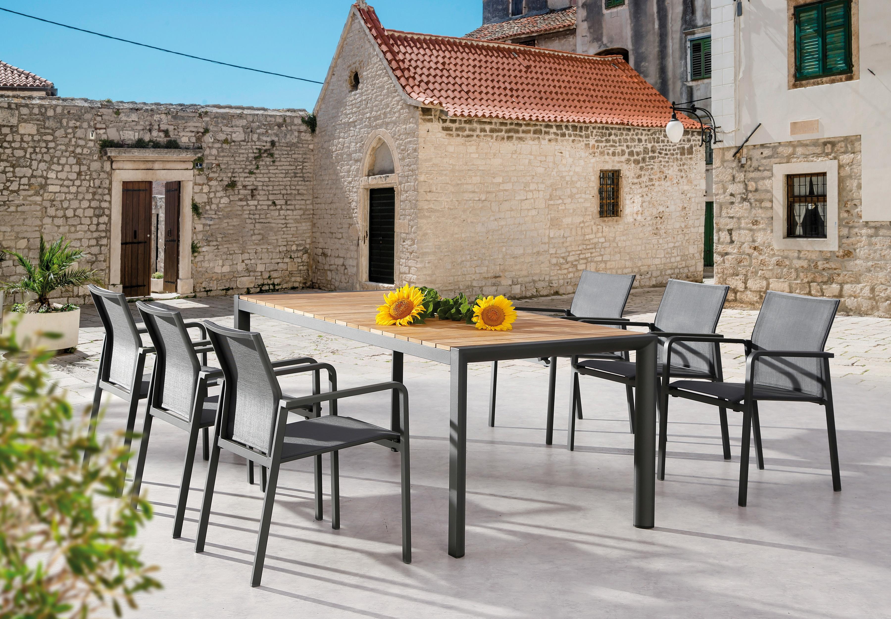 BEST Gartenmöbelset Rhodos/Paros 7-tlg 6 Stapelsessel Tisch 210x90 cm Alu/Ergotex/Teak