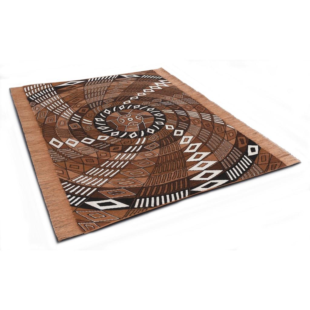 DIE HAUSKUNST Teppich »Funun Funun«, rechteckig, 4 mm Höhe, Flachgewebe, handgewebt, mit Fransen, Wohnzimmer