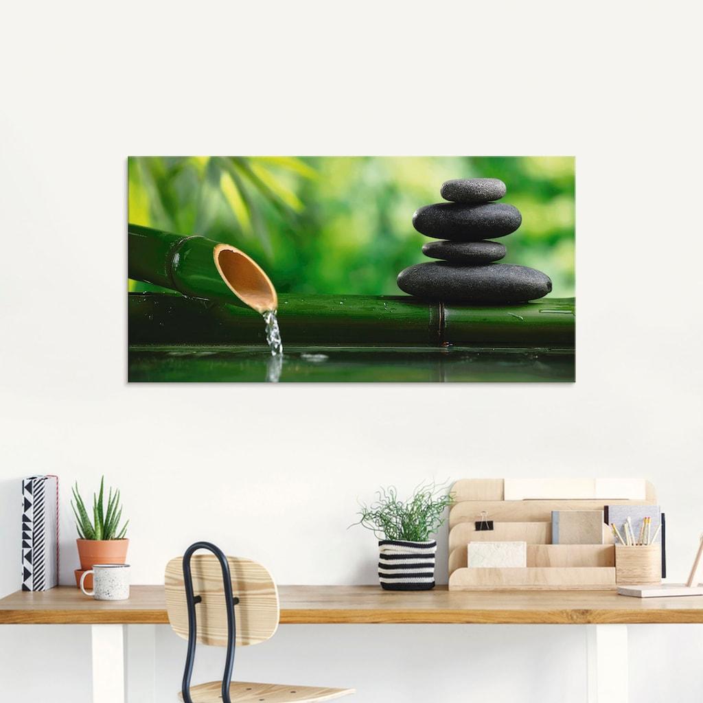 Artland Glasbild »Bambusbrunnen und Zen-Stein«, Zen, (1 St.)