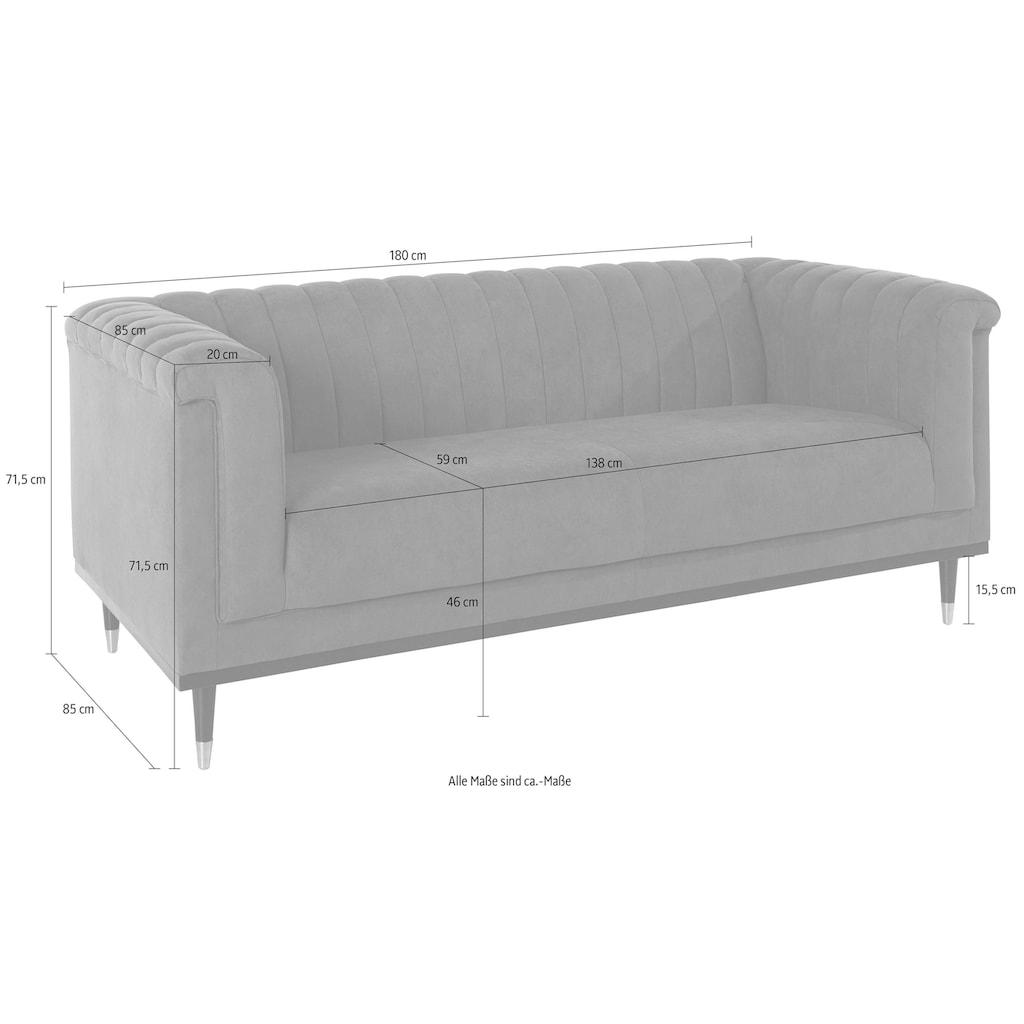 Guido Maria Kretschmer Home&Living 2-Sitzer »Chamby«, mit Holzrahmen unten und Steppung im Lehnenbereich