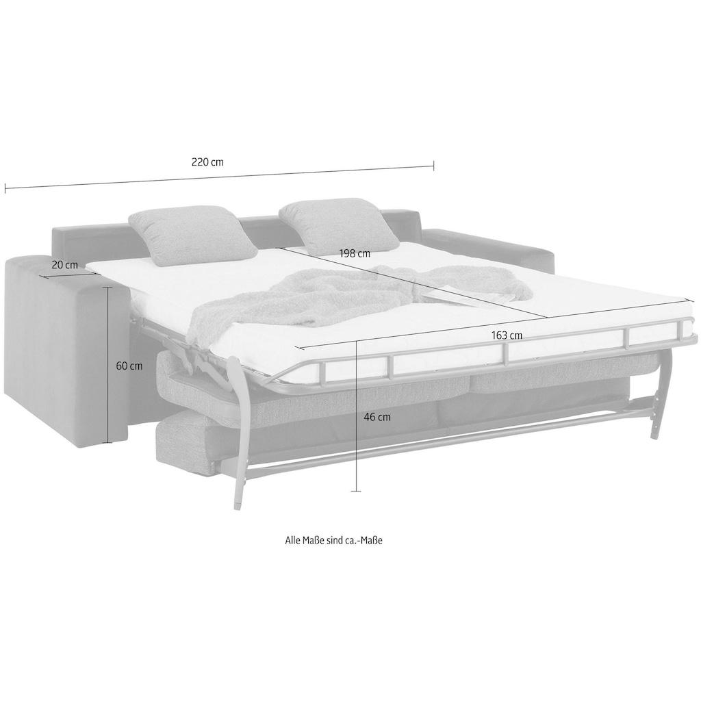 Home affaire Schlafsofa »Roma«, Dauerschlaffunktion, mit Unterfederung, Lattenrost und echter Matratze. Zum Ausfalten in hoher Qualität, in 2 Breiten
