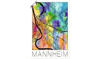 Artland Wandbild »Retro Karte Mannheim Deutschland«, Deutschland, (1 St.), in vielen Größen & Produktarten - Alubild / Outdoorbild für den Außenbereich, Leinwandbild, Poster, Wandaufkleber / Wandtattoo auch für Badezimmer geeignet kaufen