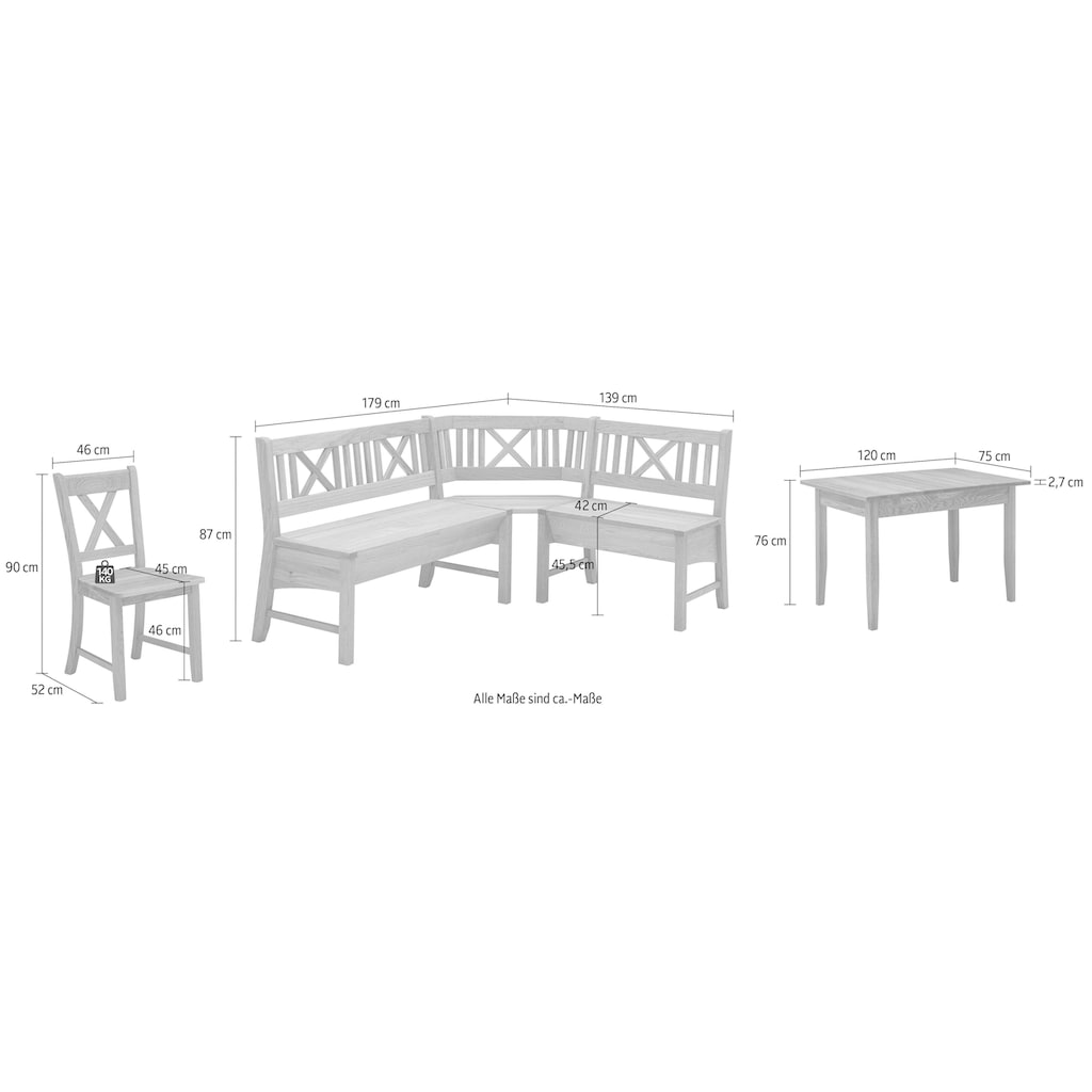 Eckbankgruppe »Königsee«, (Set, 4 St.), Eckbank ist umstellbar, Eckbank mit Truhe