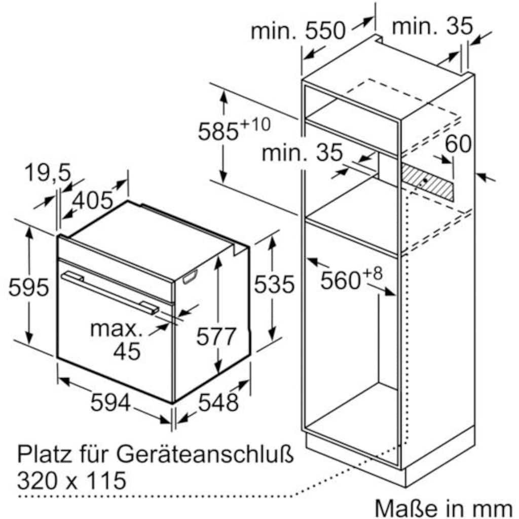 SIEMENS Pyrolyse Backofen »HB674GBW1«, HB674GBW1, mit Teleskopauszug nachrüstbar, Pyrolyse-Selbstreinigung, mit activClean