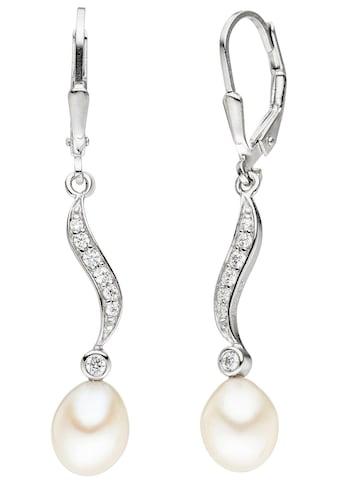 JOBO Perlenohrringe, 925 Silber mit Süßwasser-Zuchtperlen und Zirkonia kaufen