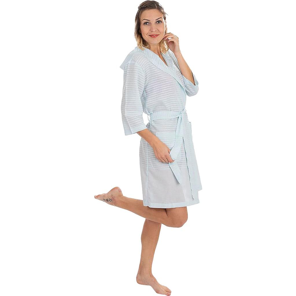 Wewo fashion Damenbademantel »6352«, (1 St., mit Gürtel), aus leichtem Pestemal