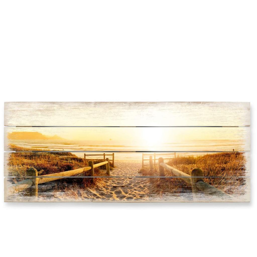 Wall-Art Holzbild »Sonnenuntergang Boho Deko«, (1 St.)