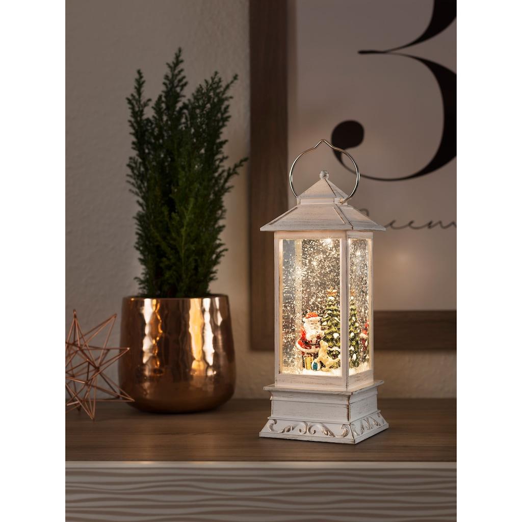 KONSTSMIDE LED Dekolicht, Warmweiß, LED Wasserlaterne Weihnachtsmann mit Hund, für den Innenbereich, 1 warmweiße Diode, wassergefüllt, 5h Timerfunktion, batteriebetrieben