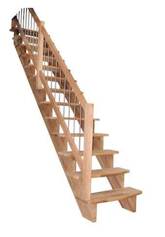 STARWOOD Massivholztreppe »Lindos«, B: 80 cm, gerade Ausführung, Geländer links kaufen