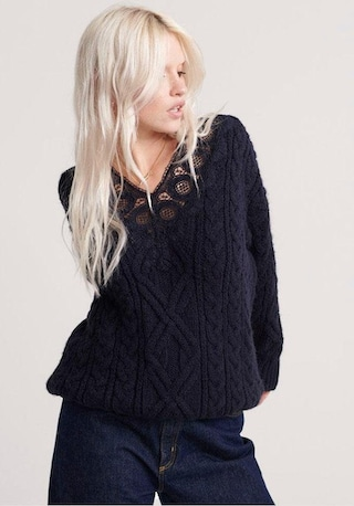 Superdry Strickpullover »LANNAH LACE VEE CABLE KNIT« im BAUR Onlineshop