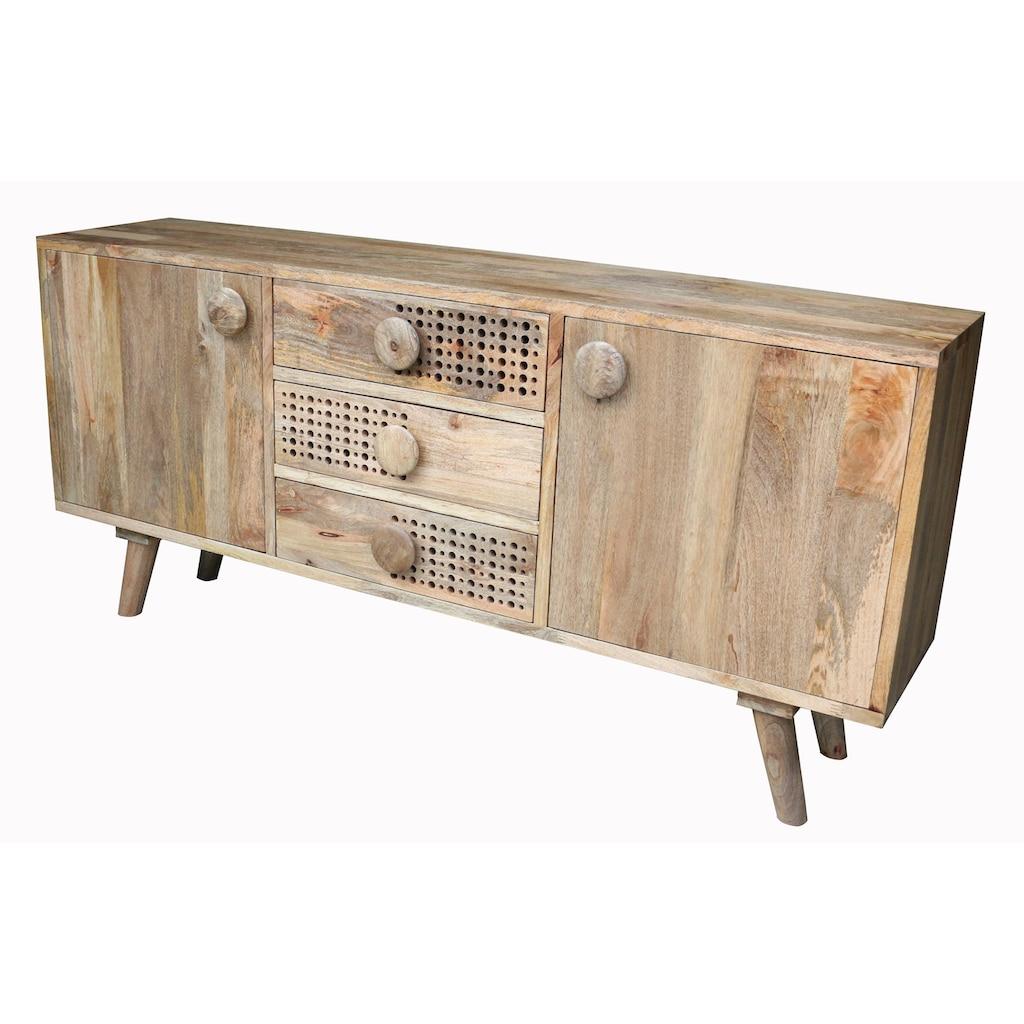 Home affaire Sideboard »Dell«, Breite 180 cm, mit dekorativem Lochmuster in den Schubladenfronten