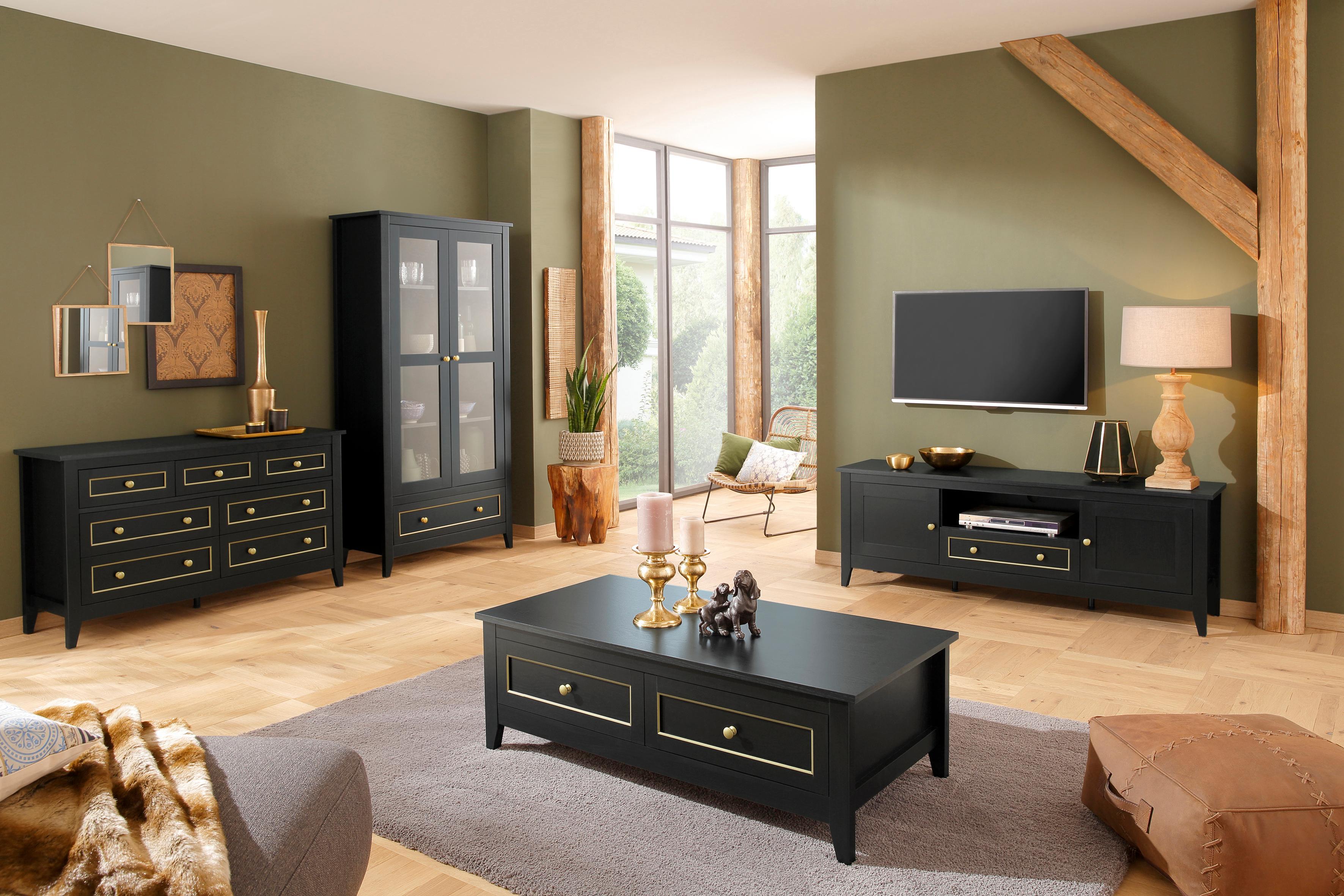 Kommode Victoria 3 kleine und 4 große Schubladen mit schöner goldener Umrandung Breite 131 cm schwarz