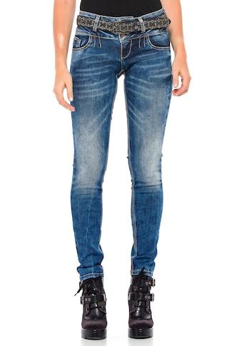 Cipo & Baxx Slim-fit-Jeans, mit coolem Doppel-Bund in Skinny Fit kaufen