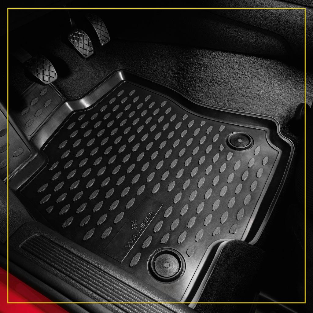 WALSER Passform-Fußmatten »XTR«, VW, Touareg, Geländewagen, (4 St., 2 Vordermatten, 2 Rückmatten), für VW Touareg II BJ 2010 - 2018