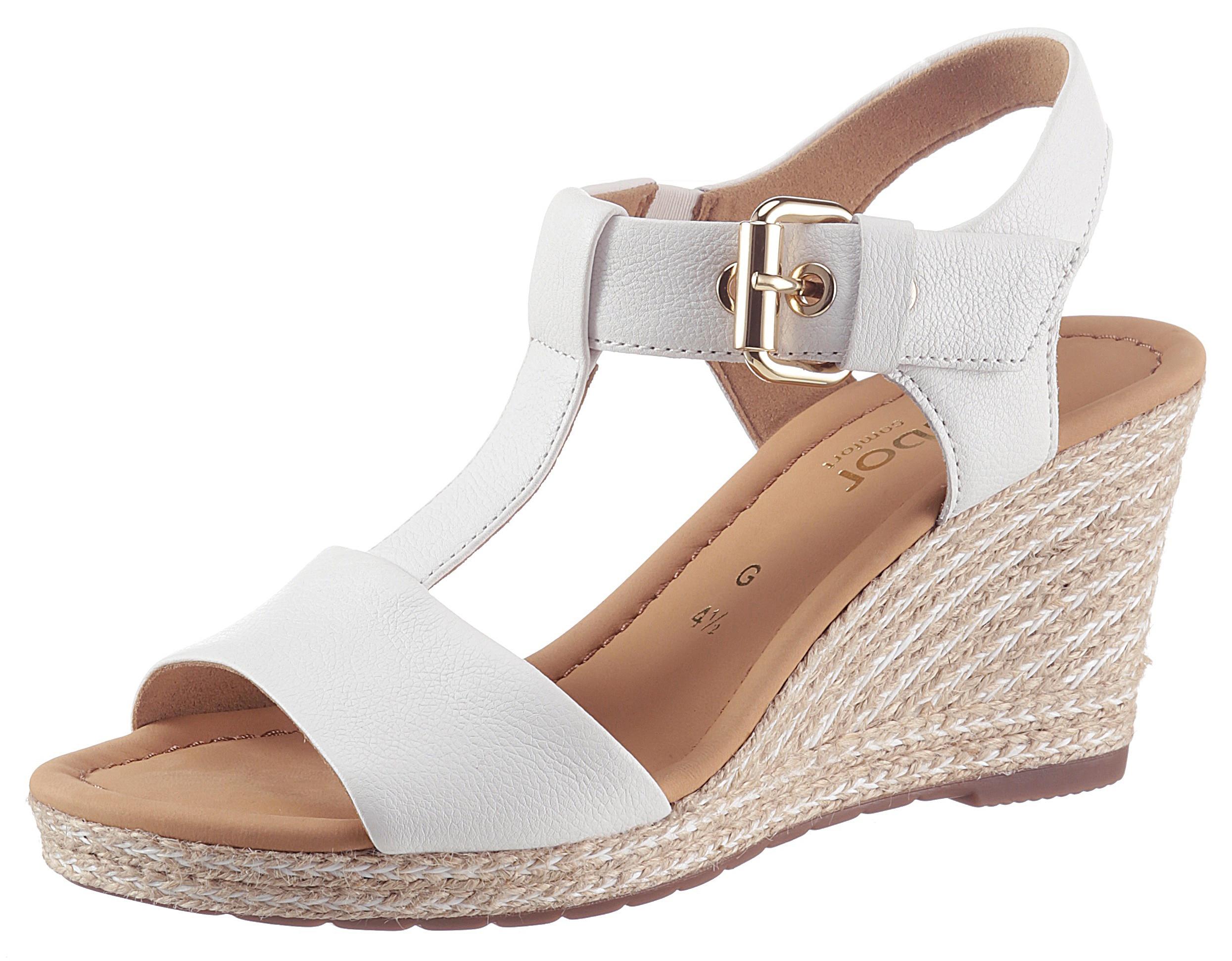 Gabor Sandalette, mit T-Spange weiß Damen Sandaletten Sandalen Sandalette