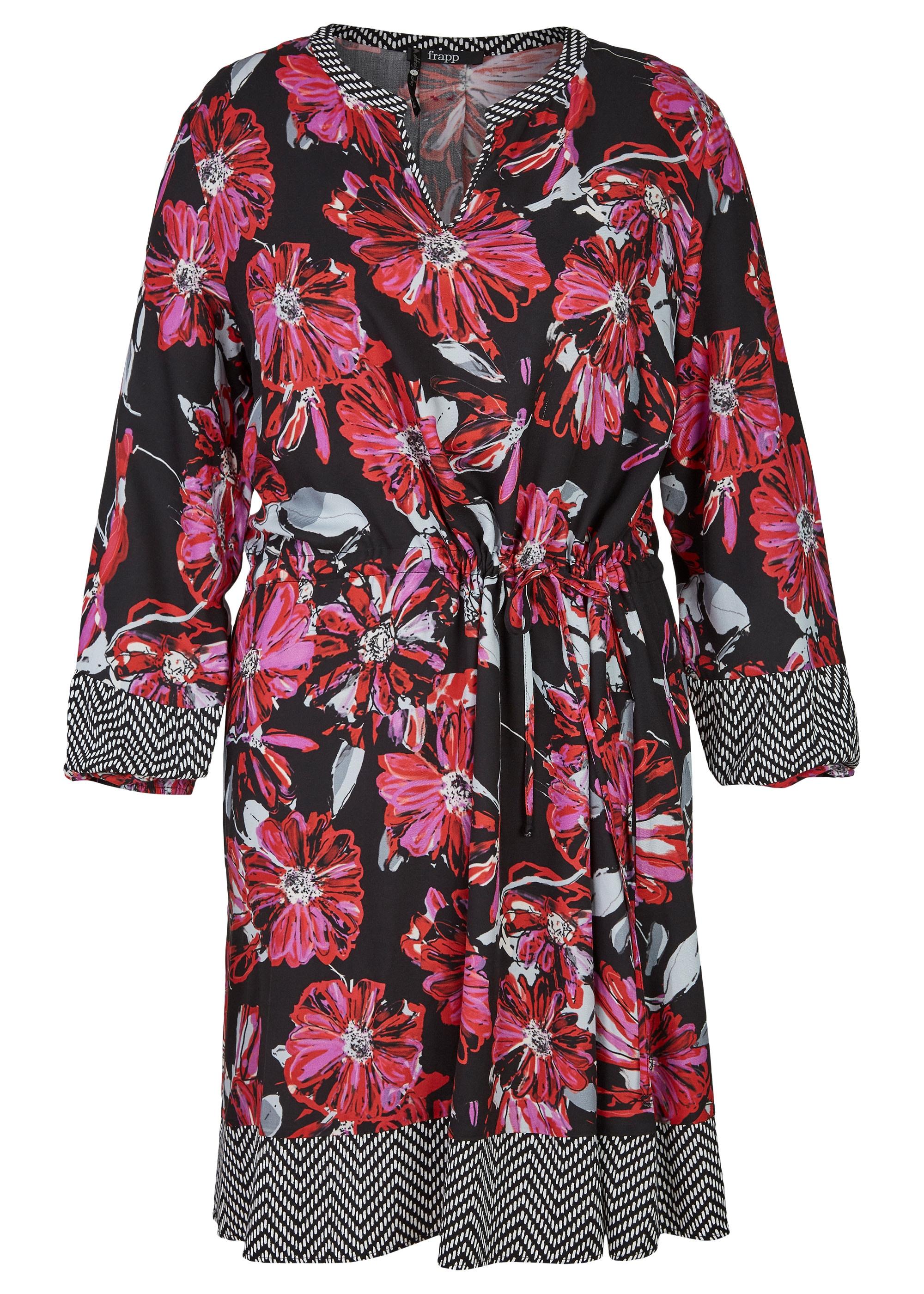 frapp -  Topmodisches Blusen-Kleid mit Allover-Mustermix