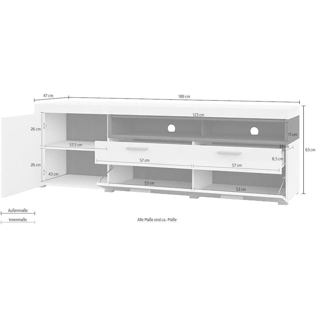 TRENDMANUFAKTUR Lowboard »Cara«, Breite 189 cm