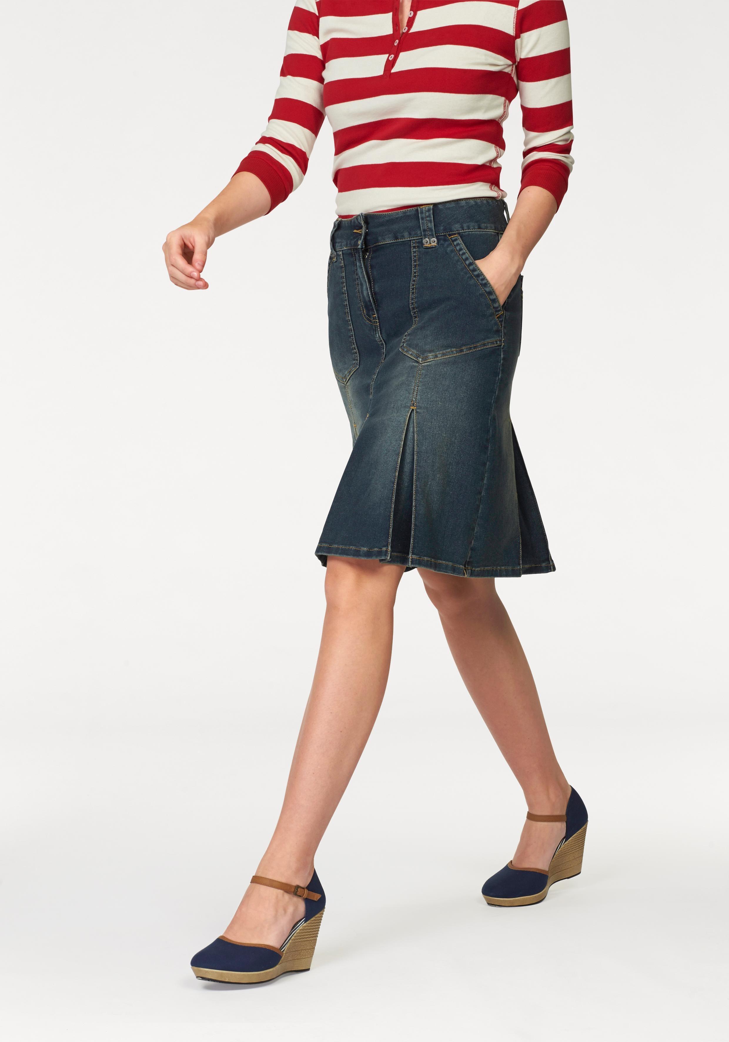 Aniston CASUAL Jeansrock, mit eingelegten Falten blau Damen Midiröcke Röcke Jeansrock