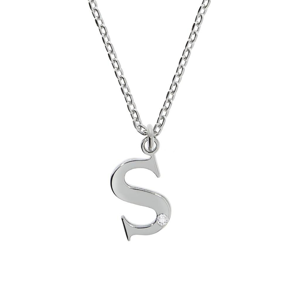 Diamonds by Ellen K. Panzerkette »925/- Sterling Silber Diamant 0,008ct. Buchstabe S«, Anhänger mit Kette