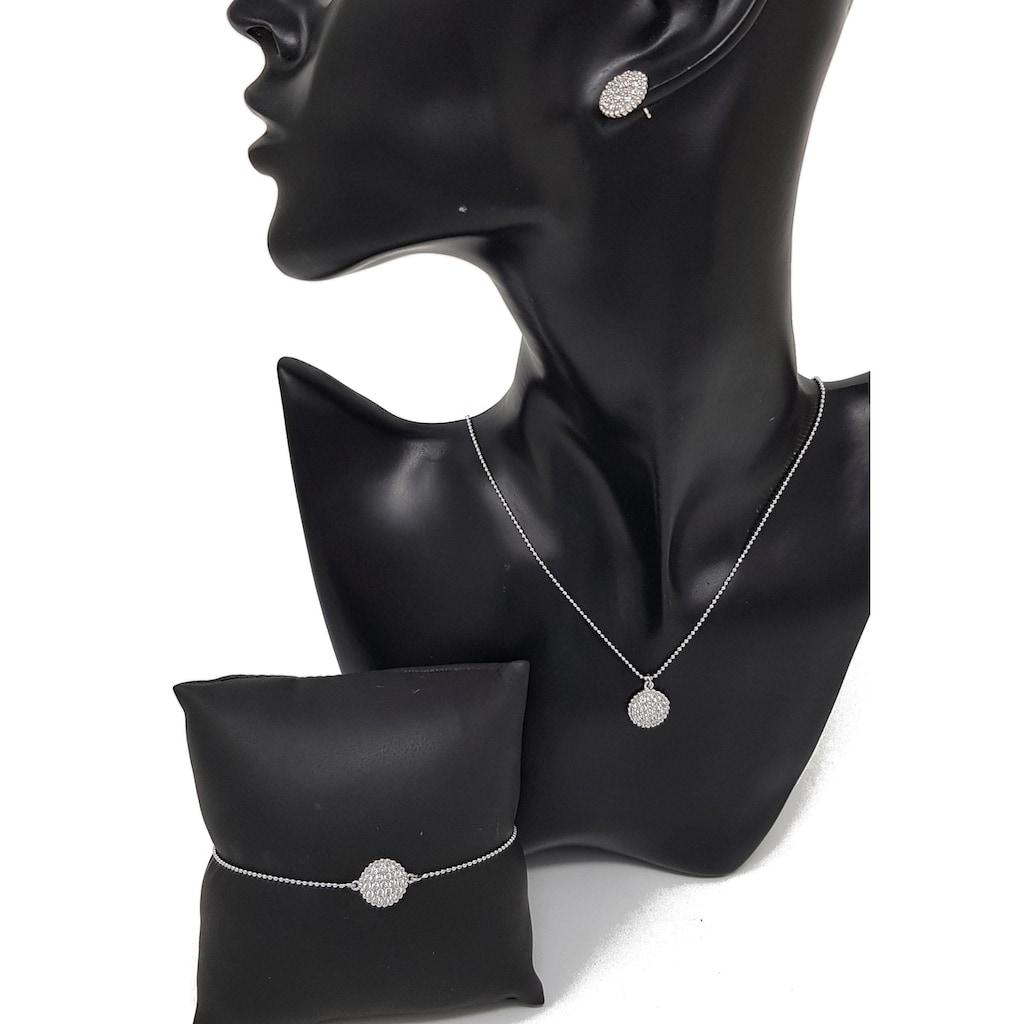 Firetti Schmuckset »Glanz, rhodiniert, diamantiert Anhänger bei Armband, Kette und Ohrstecker: rund mit Zirkonia«, mit Zirkonia