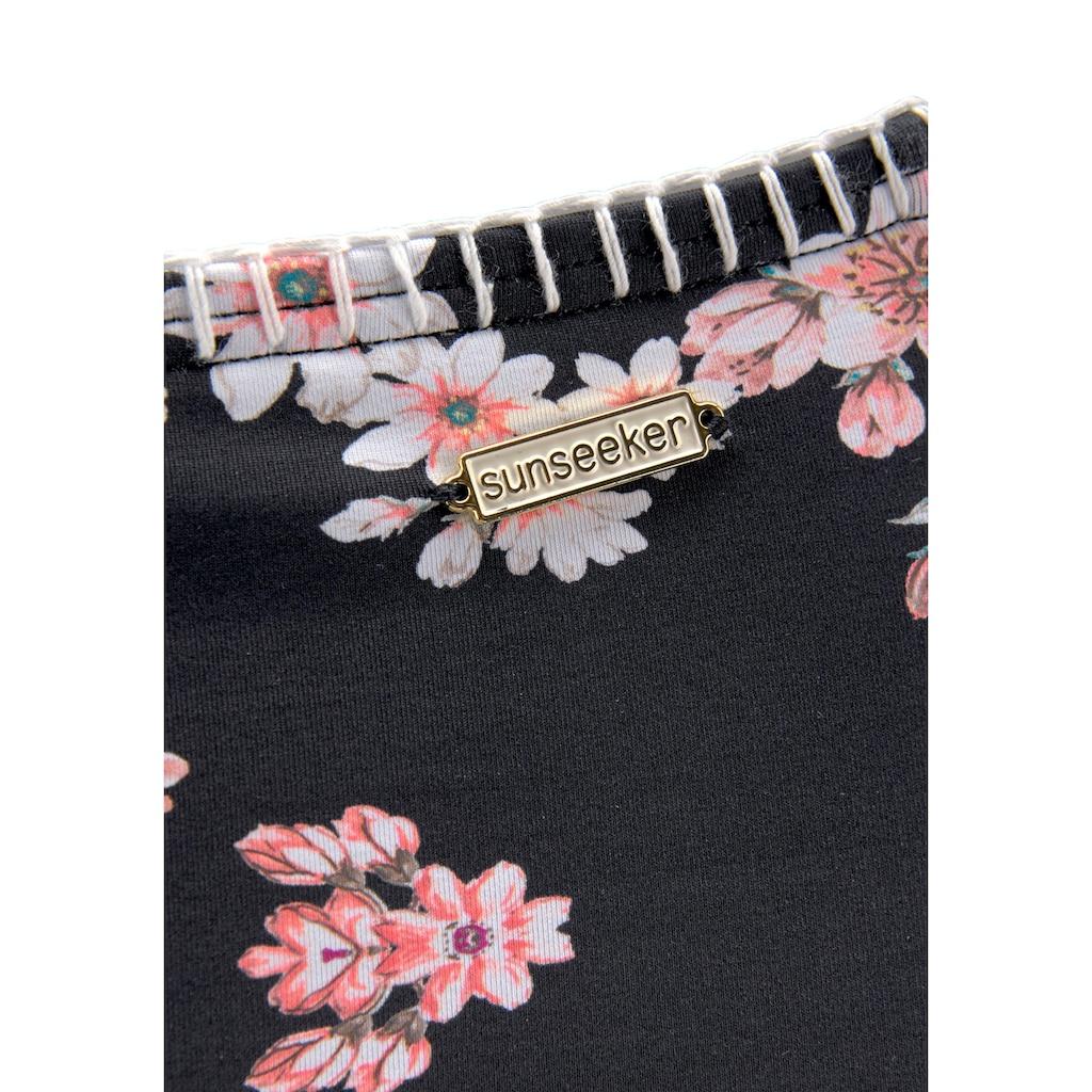 Sunseeker Highwaist-Bikini-Hose »Ditsy«, mit Häkelkante und seitlichen Zierbändern