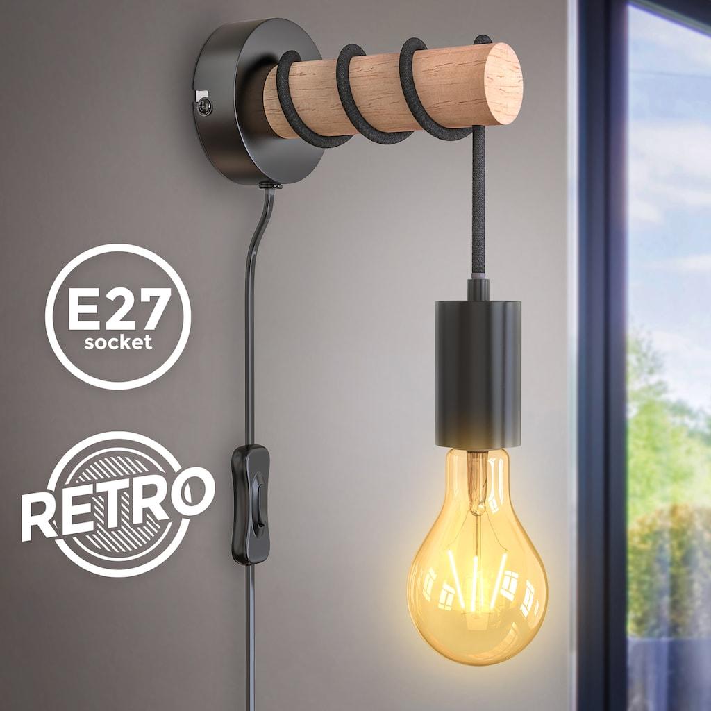 B.K.Licht Wandleuchte, E27, 1 St., Wandlampe 1 flammig Industrial Design Retro Vintage Lampe Stahl Holz Rund E27 ohne Leuchtmittel
