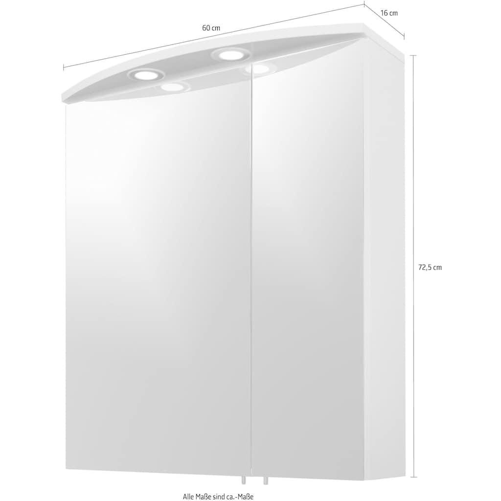Schildmeyer Spiegelschrank »Verona«, Breite 60 cm, 2-türig, 2 LED-Einbaustrahler, Schalter-/Steckdosenbox, Glaseinlegeböden, Made in Germany
