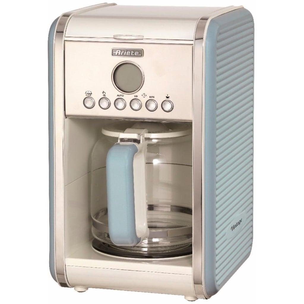 Ariete Filterkaffeemaschine »Vintage 1342, blau«, Permanentfilter, Startzeit Kaffeezubereitung programmierbar und Unterbrechung der Zubereitung