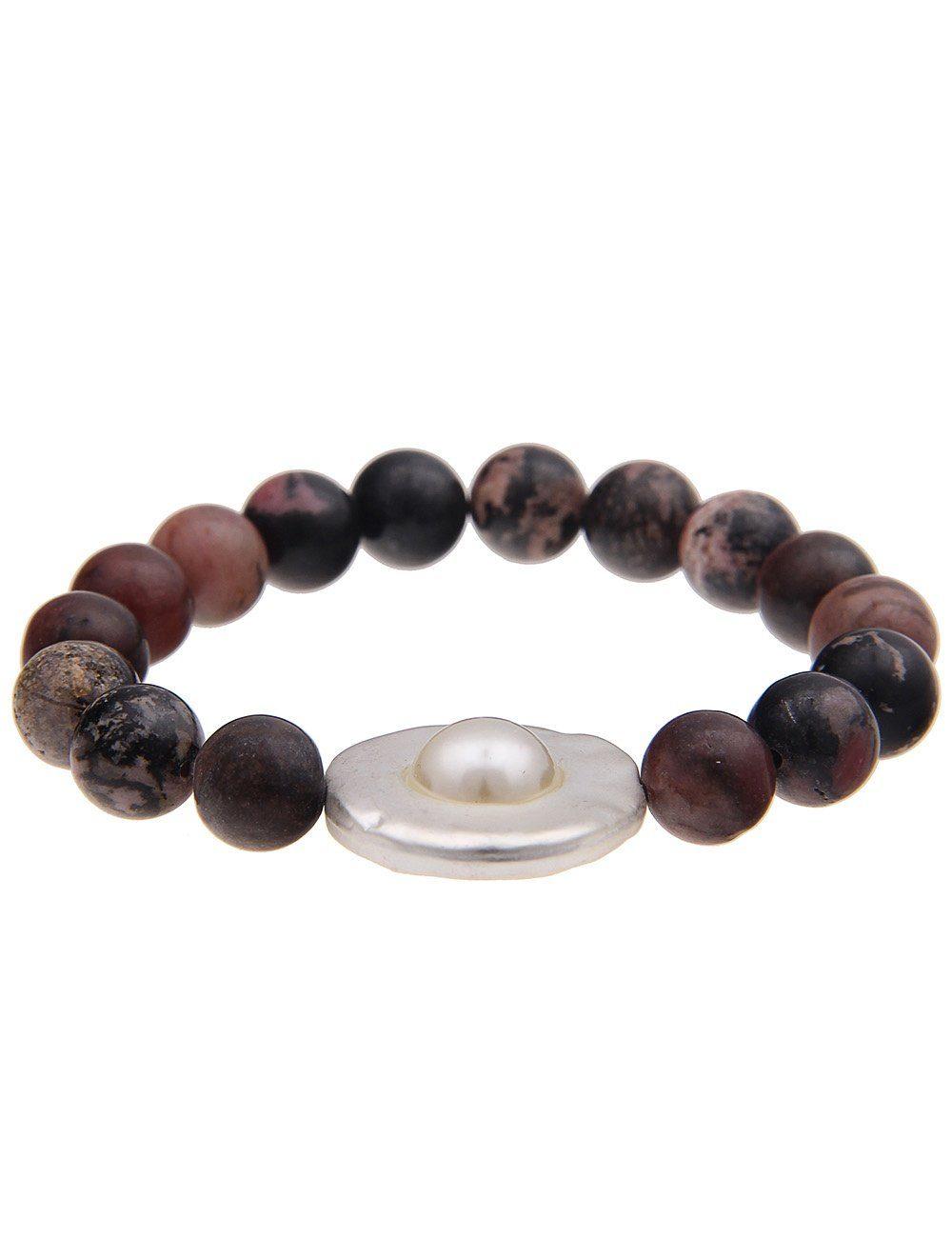leslii Armband mit Natursteinen rot Damen Modeschmuck (nicht Echtschmuck) Perlenarmbänder Armbänder Schmuck 4250980351401