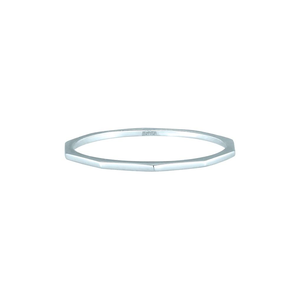 Elli Fingerring »Bandring Geo Basic Minimal Look 585 Weißgold«