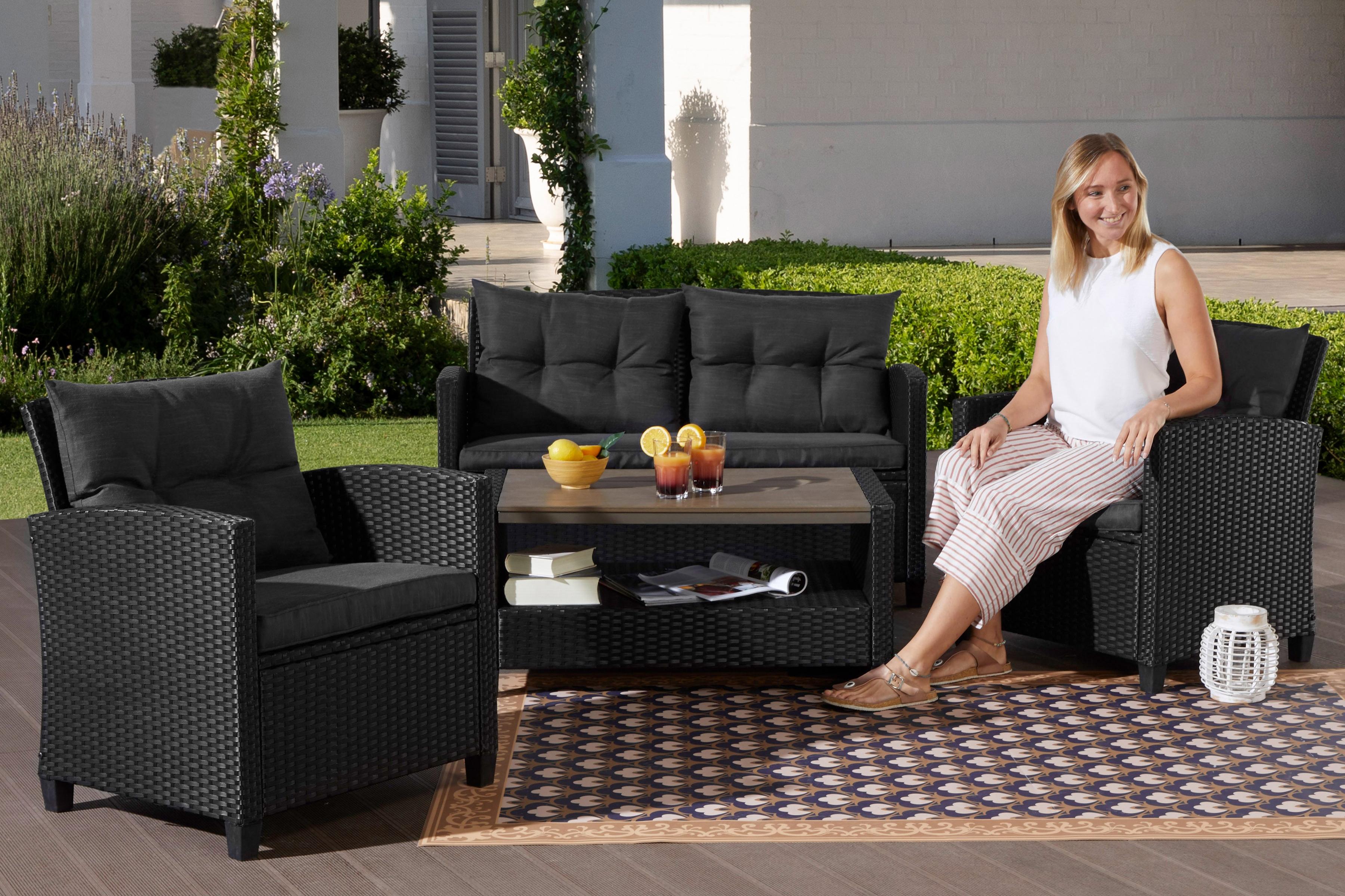KONIFERA Gartenmöbelset St Tropez 11-tlg 2er Sofa 2 Sessel Tisch 90x55 cm Polyrattan