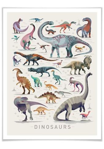 Wall-Art Poster »Dinosaurs«, Dinosaurier, (1 St.), Poster, Wandbild, Bild, Wandposter kaufen